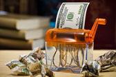 U.s. Dollar in a Paper Shredder — Stock Photo