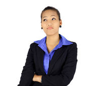 Isolated young business woman with a look of hesitation on white — Stock Photo