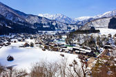 View from the Shiroyama Viewpoint at Ogimachi Village, Shirakawago — Stok fotoğraf