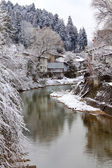 Miyagawa River in Takayama Surrounded with Snow — Stock Photo