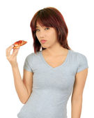 Isolated young asian woman with a piece of pizza — Stock Photo
