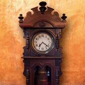 Vintage Wood Clock — Stock Photo