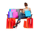 Isolated Young Asian Woman With colorful Shopping Bags — Stock Photo