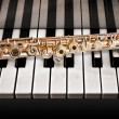 Stock Photo: 14 K rose gold flute on piano