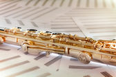 14K Rosegold flute on music sheets — Stock Photo