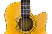 Isolated yellow Acoustic Cutaway Guitar — Stock Photo