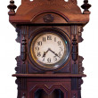 Isolated Vintage Wood Clock  — Stock Photo