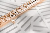 14K rose gold upper middle joint of the flute on blank music sheets — Stock Photo