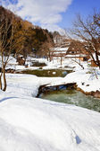Small Canal Surrounded with Snow at Ogimachi Village in Shirakawago — Stockfoto
