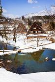 白川村荻町で雪に囲まれた小さな沼 — ストック写真