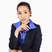 Young Business woman looking and listening — Stock Photo