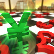 Stock Photo: Green Japanese Yen Symbol with red international currencies