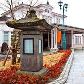 Stone lantern at Nikko Train Station — Stock Photo