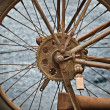 Old rusty vintage motorcycle wheel — Stock Photo