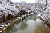 Fiume miyagawa circondato con neve — Foto Stock