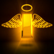 3D Rendering of a dead gold bar with wings and ring — Stock Photo