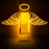 Representación 3d de un lingote de oro muertos con alas y anillo — Foto de Stock