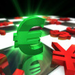Green Euro dollar Symbol with red international currencies — Stock Photo