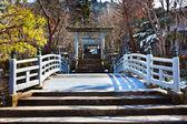 Puente a un santuario en el área del templo higashiyama en hida - takayama, japón — Foto de Stock