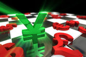 Green Japanese Yen Symbol with red international currencies — Stock Photo