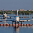 Stock Photo: Airplanes drown in water