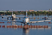 Airplanes drown in the water — Stock Photo