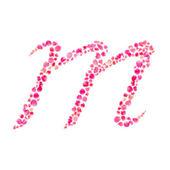 M alfabet składa się z liści róży na białym tle — Zdjęcie stockowe