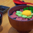 Raw Tuna Sashimi with Boiled Rice and Raw Egg  — Stock fotografie