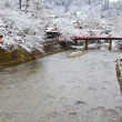 Miyagawa river in Hida -Takayama in winter — Stock Photo