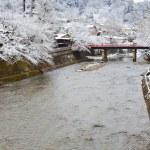 Miyagawa river in Hida -Takayama in winter — Stock Photo