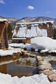 Canal Surrounded with Snow at Ogimachi Village in Shirakawago — Stock Photo