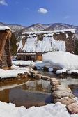 白川村荻町で雪に囲まれた運河 — ストック写真