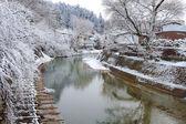 Miyagawa rivier in takayama — Stockfoto