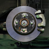 Disc brake of a car without brake lining — Stock Photo