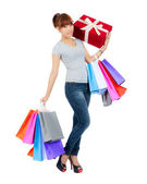 Young Asian Woman with Shopping Bags — Stok fotoğraf