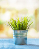 Grass in a tin pot with bokeh in a home interior — Stock Photo