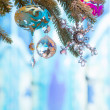 Stock Photo: Variuos colorful ornaments decorated on christmas tree