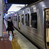 Train commuter in Fukuoka — Stock Photo