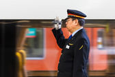 Train Conductor in Osaka — Stock Photo
