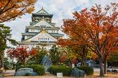 Castelo de osaka, com outono folhas no outono — Foto Stock