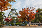 Osaka Castle with Autumn Leaves in Autumn — Stock Photo