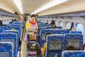 Food and drink on a Shinkansen — Stock Photo