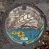 Manhole in Kawaguchiko, Japan — Stock Photo