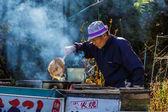 Senior Japanese at Lake Kawaguchiko — Stok fotoğraf