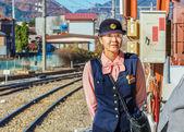 Train Steward in Yamanashi, Japan — Stock Photo