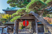 Red Giant Lantern at the Front gate of Hasedera Temple in Kamakura — Stock Photo