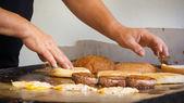 Hamburger on a stove — Foto de Stock