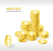Vector coins stack with text — Vettoriale Stock