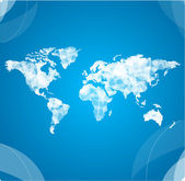 白いベクトル世界地図 — ストックベクタ