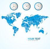 青いベクトル世界地図 — ストックベクタ